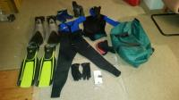 Semi dry suit, fins (x2 pair), boots, gloves, hood